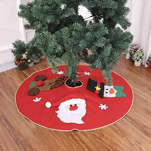 Funhoo Weihnachtsbaum Rock Unterlage Baumdecke Baumständer Verkleidung Schneemann Elch Weihnachtsmann Muster Weihnachtsdeko Schutz vor Tannennadeln Φ 100cm
