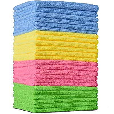 """TexQueen Versatile Microfiber Cleaning Cloth for House Kitchen Dish Countertop Table, 24 Packs 11.8""""x11.8"""" Inch Household Cleaning Rags, Soft Absorbent Lint Free Streak Free, 4 Colors by TexQueen"""