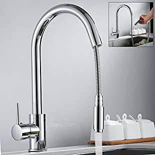 Kitchen Sink Taps Hole Pull Out Sprayer Kitchen Faucet Chrome Monobloc Mixer Tap Single Lever with UK Standard Fittings 10 Years Quality Warranty:Qukualian