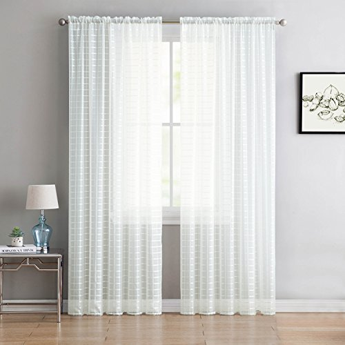 """Victoria Classics Home Set of Two (2) White Sheer Rod Pocket Window Curtain Panels: 84"""" L, Plaid/Check Design"""