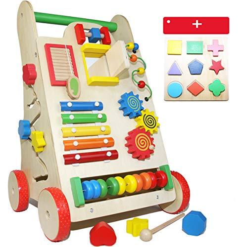 EasY FoxY ToY Lauflernwagen Holz; Stabiles Lauflernhilfe Spielzeug für Kinder; Gehhilfe Holzspielzeug mit Motorik für Jungen Mädchen, Nachhaltiges Geschenk zum Lernen