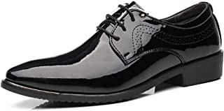 PengCheng Pang Business Oxford for Men Formal Shoes Lace Up Patent Microfiber Leather Waxy Shoelaces Pointed Toe Gentleman Breathable Lined (Color : Black, Size : 6 UK)