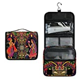 LZXO Bolsas de Aseo de Viaje para Colgar, Retro, Tribal India, Neceser de Maquillaje, portátil, Organizador de cosméticos, con Cremallera, Impermeable, para Mujeres, niños y Hombres