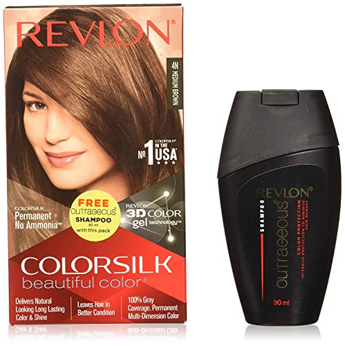 Revlon Colorsilk Hair Color Medium Brown 4n, 200 ml with Free Outrageous shampoo 90 ml