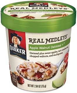 Quaker 15504 Real Medleys Oatmeal, Apple Walnut Oatmeal+, 2.64oz Cup, 12/Carton