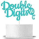Double Digits Cake Topper, 10th Birthday Cake Topper, Double Digits Tenth Birthday Party Cake...