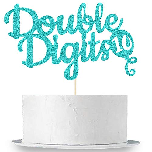 Double Digits Cake Topper, 10th Birthday Cake Topper, Double Digits Tenth Birthday Party Cake Supplies Decorations (Green)