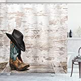 Ambesonne Western Shower Curtain, Traditional Rodeo Cowboy Hat and Cowgirl Boots Retro Grunge Background Art Photo, Cloth Fabric Bathroom Decor Set with Hooks, 70' Long, Brown Black