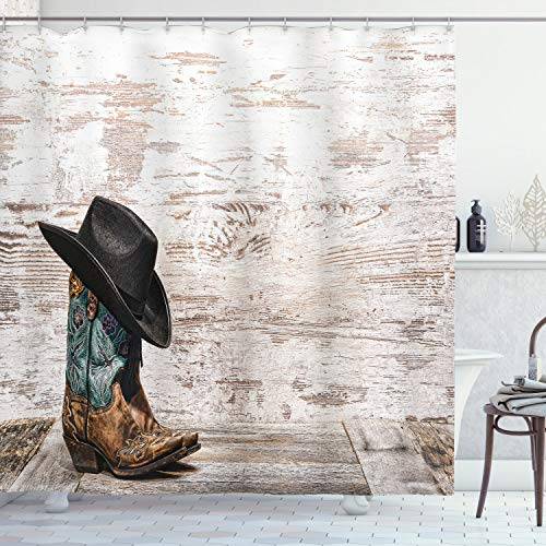 """Ambesonne Western Shower Curtain, Traditional Rodeo Cowboy Hat and Cowgirl Boots Retro Grunge Background Art Photo, Cloth Fabric Bathroom Decor Set with Hooks, 75"""" Long, Brown Black"""
