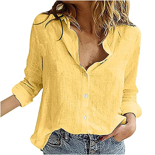 Camicia da donna a maniche lunghe, in lino, casual, con scollo a V, a maniche lunghe, casual, da donna, giallo., XL