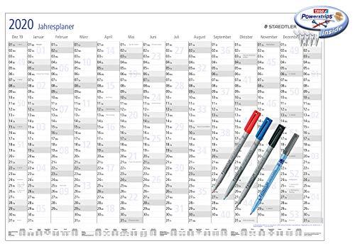 Staedtler Jahresplaner 2020, abwischbar (1, Mit 4 Stiften und Powerstrips)