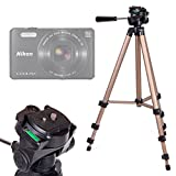 DURAGADGET Trípode con Nivel De Burbuja para Cámara EasyPix W510 / Fujifilm FinePix XP90 / Nikon Coolpix A10, S32, S7000 / Sony Cyber-Shot DSC-HX90 - Profesional