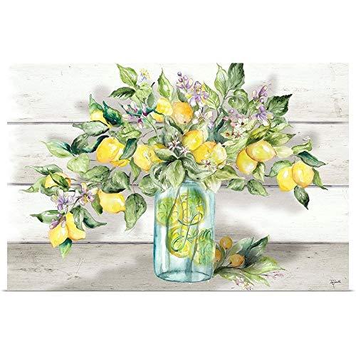 "GREATBIGCANVAS Watercolor Lemons in Mason Jar Landscape Fine Art Poster Print, Home Decor Artwork, 24""x16"""