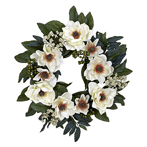 Nearly Natural 4793 22in. Magnolia Wreath,White