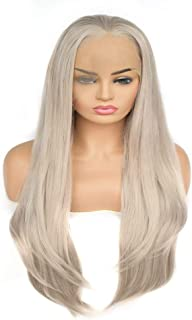 Hairpieces Hairpieces Fashian Bright Gray Ladies Natural Straight Hair Front Lace Heat Wig for Daily Use and Party (Color : Bright Gray)