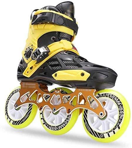 Dameng Sei Ruote Full-Flash in-Line per Adulti Piatto Fiore di Pattinaggio di velocità a Doppio Uso di Pattini a rotelle in Linea Roller Skates Skates,Giallo,43