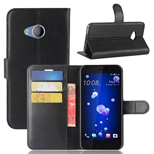 LMAZWUFULM Hülle für HTC U11 Life PU Leder Magnetverschluss Brieftasche Lederhülle Litschi Muster Standfunktion Ledertasche Flip Cover für HTC U11 Life Schwarz