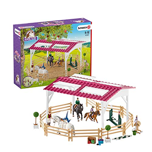 Schleich Horse Club, 40-Piece Playset, Horse Toys for Girls and Boys 5-12 years old Riding School with Riders and Horses