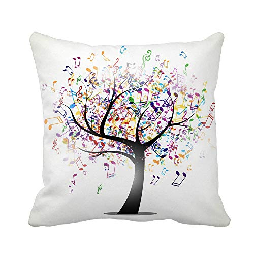 N\A Throw Pillow Cover Árbol Colorido de Notas Musicales abstractas Rainbow Abstraction Bass Funda de Almohada Funda de Almohada Cuadrada Decorativa para el hogar Funda de cojín