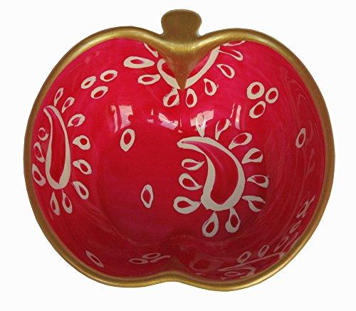 Caroline @ CHH Design Joli petit bol forme Pomme, Vide-poche, arts de la table 'Cachemire Rose' peint à la main sur les deux cotés