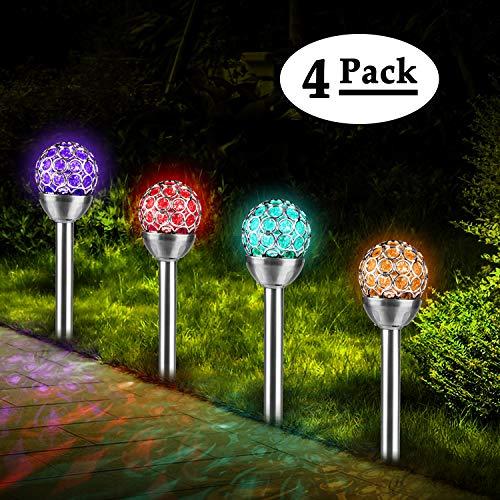 Solar Gartenleuchte LED 4er Set Kugel, TechKen Solar Globe Licht, Farbwechsel Gartenbeleuchtung Wasserdicht für Außen, Garten, Balkon, Terrasse, Rasen, Wege