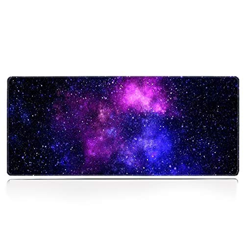 Galdas Gaming Mouse Pad Galaxy Pattern XXL XL Large Mouse Pad Mat Long Extended Mousepad Desk Pad Non-Slip Rubber Mice Pads Stitched Edges Thin Pad (31.5x11.8x0.08 Inch)-Starry Space