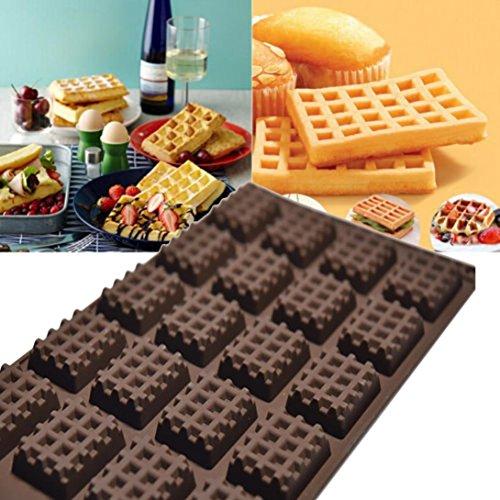 Igemy de cuisine en silicone Mini Gaufres Pan Moule à gâteau Chocolat Pan Moule à gâteau rond gaufré Plateau