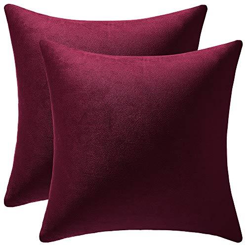 DEZENE Fodere per Cuscino 40x40 cm Rosso Vino: 2 Pezzi di Fodere per Cuscino Decorative Quadrate in Morbido Velluto Morbido per Divano da Fattoria