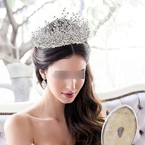 YYMM Frauen Kronen, Braut Haarschmuck Strass Haarschmuck Hair Band Kopfschmuck Hochzeit Stirnband Krone Königin Bräute Tiara, für Hochzeitsrom Halloween