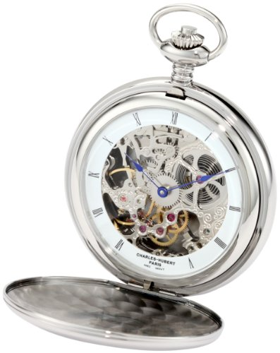 Charles-Hubert, Paris 3904-W Premium Collection Stainless Steel Polished Finish Double Hunter Case Mechanical Pocket Watch