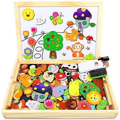 Jojoin Puzzle Magnetico Legno, Double Face Pittura, Tema Animali e foreste Puzzle con Lavagna per Bambini 3 4 5 Anni Presente Immaginazione