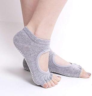 Women's Grip Socks - Yoga Pilates Barre Non Slip Full Toe - Ballet Five Toe Socks (Grey)