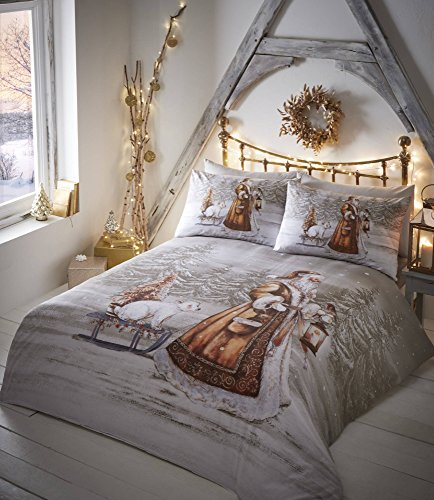 Twilight Santa Christmas Duvet Cover and 2 Pillowcase Set, Beige, King