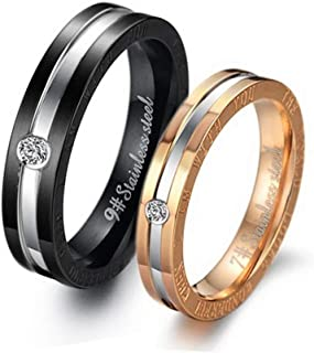 Vanski 2Pcs Matching Set Stainless Steel Token Love Couple Rings Bands for Him and Her Sets Promise Rings