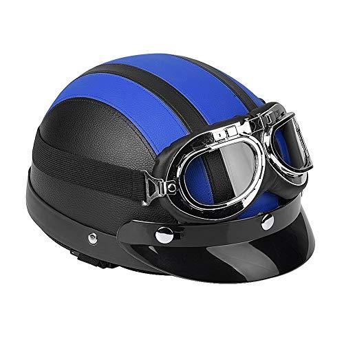 Casco de Motocicleta Vintage con tamaño de Gafas, Scooter Universal de Motocicleta de Cuero sintético Medio Casco y Visera Gafas UV Negro(Azul)