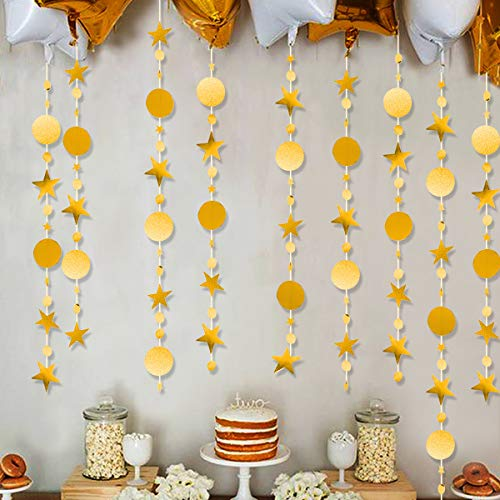 CattleyaHQ Banner Stelle 4 Pezzi, ghirlande Rotonde Stelle Specchio Flash Oro, Decorazioni per Feste, Compleanni, Baby Shower, Matrimoni