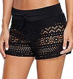 Ocean Plus Femme Été Crochet Dentelle Short de Bain Élégant Shorts de Natation Grande Taille Bas Bikini Hotpants Culotte Boxer Plus Size Shorts de Plage (M (EU 36-38), Black)