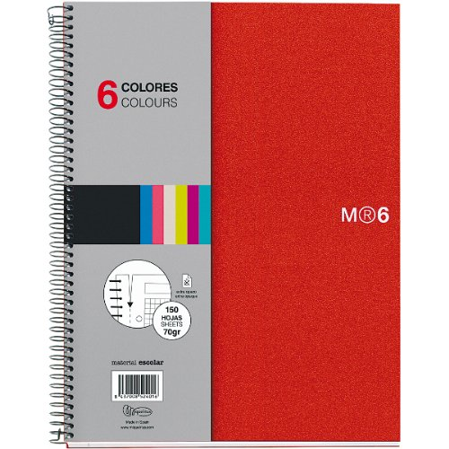 Miquelrius A5 Wirebound Notebook, 6-Subject, Graph Paper, Red (6 x 8 inches)