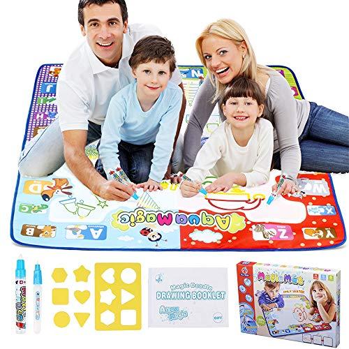 MOMMED Magische Zeichenmatte Mal-Tafel Aqua Magic Matte für Kleinkinder Kinder, Geschenk für Mädchen und Jungen ab 3 Jahre, Größe 79 x 79 cm mit 2 Magic-Pens, Neonfarben, Zeichenformen und Anleitung