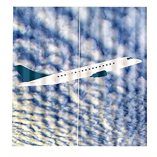 FACWAWF Cortinas De Impresión Digital 3D Apagón Protector Solar Cortinas De Avión Blanco Sala De Estar Dormitorio Decoración De La Cortina De La Puerta 2xW110xH215cm