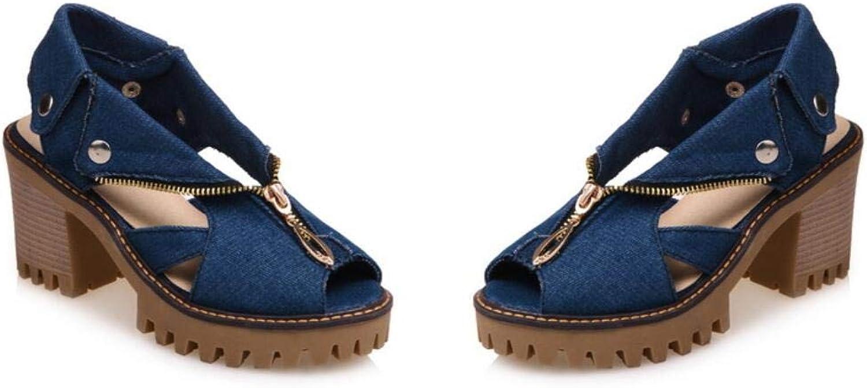 Women's shoes Denim Spring & Summer Novelty Sandals Chunky Heel Peep Toe,A,US7.5 EU38 UK5.5 CN38