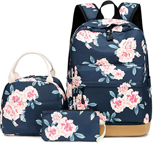 Teen Girls School Backpack Floral Bookbag Set with Lunch Box Pencil Case Travel Laptop Backpack Casual Daypacks (Navy Blue-0041)