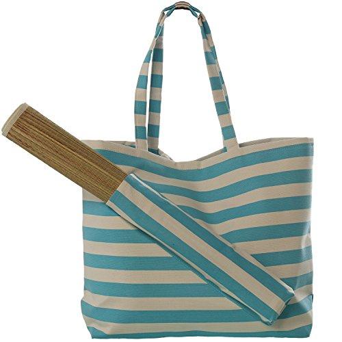 DRW strandtas van polyester met strandmat in blauw en wit 56 x 38 H cm mat 180 x 60 cm