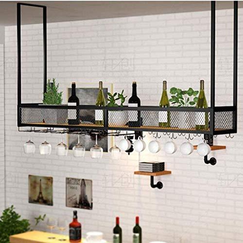 YZ-YUAN Dispensador de Vino para Bebidas duraderas Estantes para Vino de Techo Rejilla para portabotellas de Vino Vintage Rejilla de Hierro de Estilo Simple para Cualquier Tipo de Copas de Vino Cris