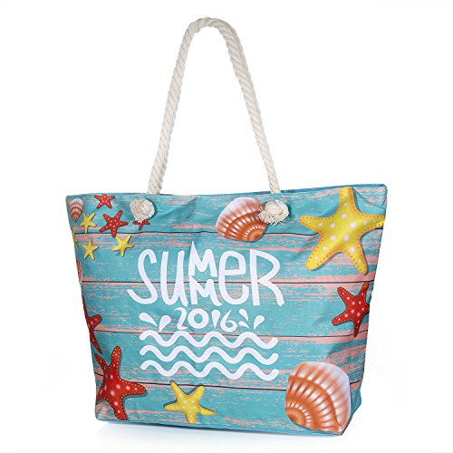 Vordas Bolsa de Playa de Lona Mujer Grande, Bolsa de Playa Grande con Cremallera para Mujeres y Niñas - Style 11