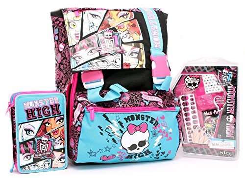 Schoolpack C/Nails Fucsia/Nero Monster High