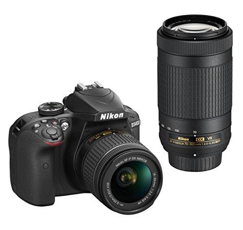 Nikon D3400 + AF-P 18-55mm VR+AF-P 70-300mm VR + 8GB SD Juego de cámara SLR 24,2 MP CMOS 6000 x 4000 Pixeles Negro - Cámara Digital (24,2 MP, 6000 x 4000 Pixeles, CMOS, Full HD, 445 g, Negro)