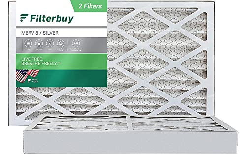 FilterBuy 16x25x4 Air Filter MERV 8, Pleated HVAC AC Furnace Filters (2-Pack, Silver)