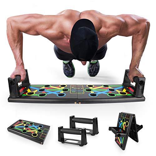 Push-up-Brett, Push Up Board farbcodiertes Liegestützbrett für Home Fitness Workout Training EKOOS (Schwarz, 14-in-1)