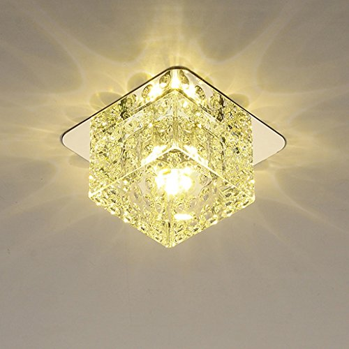 Ywyun Simple plafonnier en cristal, moderne LED carré downlight allée corridor lustre décoratif (Color : Warm light)